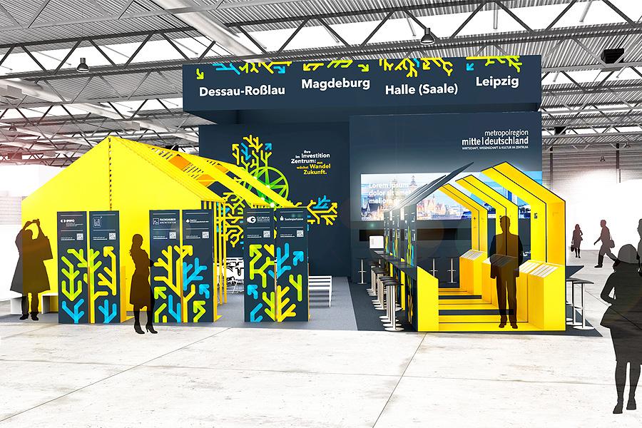 Metropolregion Mitteldeutschland, Messestand, exporeal, studio Hartensteiner, Produktdesign, Designbüro Leipzig